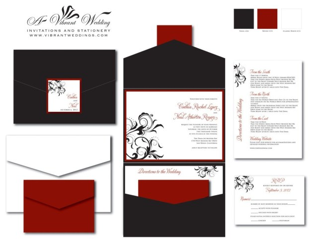 Black And Red Wedding Invitations Black Red Wedding Invitation Pocketfold Style W Spanish Floral