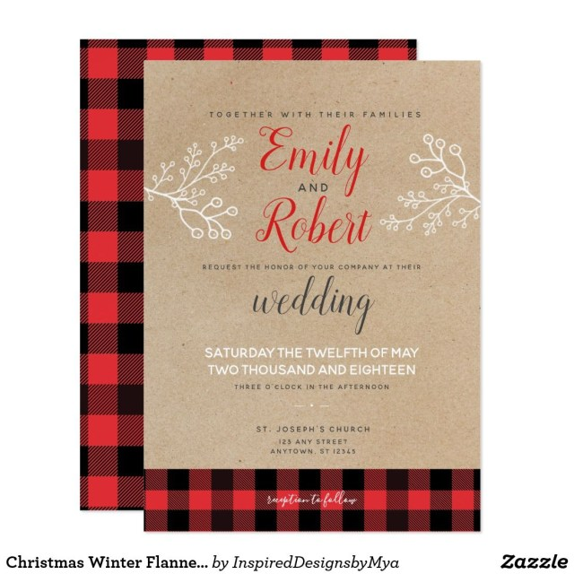 Black And Red Wedding Invitations Christmas Winter Flannel Red Black Wedding Invitation In 2018