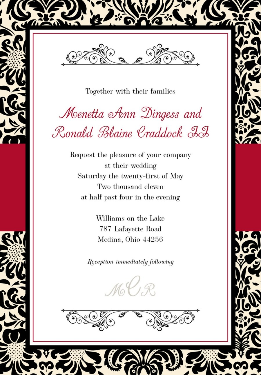 Black And Red Wedding Invitations Marquises Blog Free Wedding Invites For