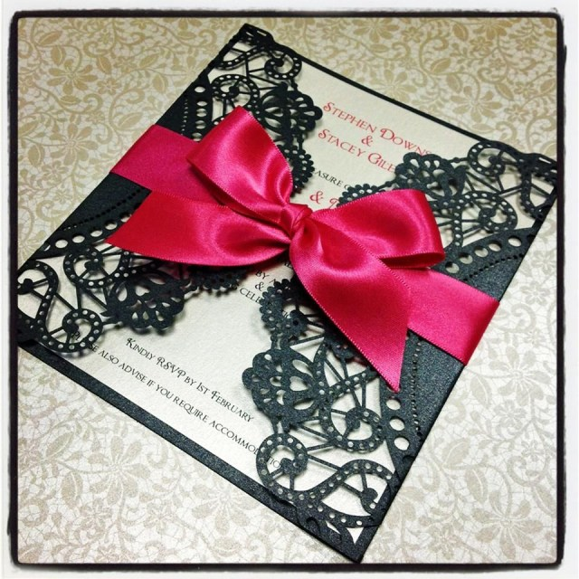 Black And Red Wedding Invitations Red And Black Wedding Invites Black Lace Paper With Red Ribbon