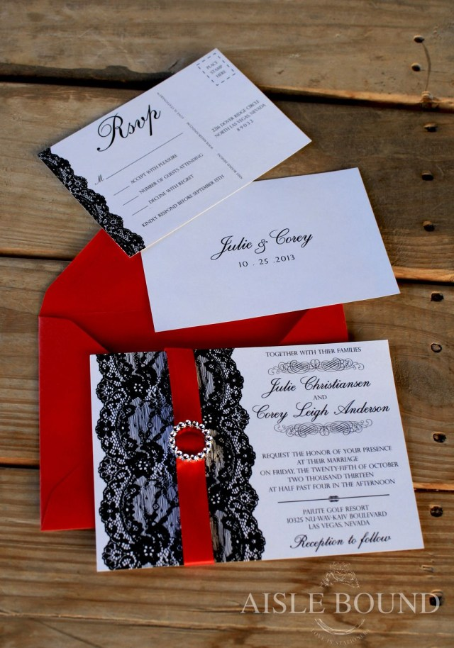 Black And Red Wedding Invitations Vintage Hollywood Wedding Invitation Metallic Red Envelope