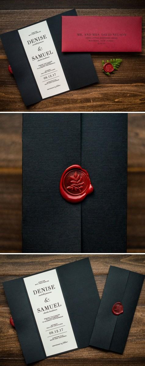 Black And Red Wedding Invitations Wax Seal Wedding Invitation Penn Paperie This Black Gatefold