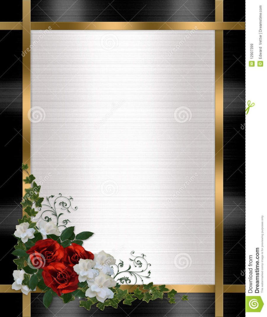 Black And Red Wedding Invitations Wedding Invitation Border Red Roses Stock Illustration