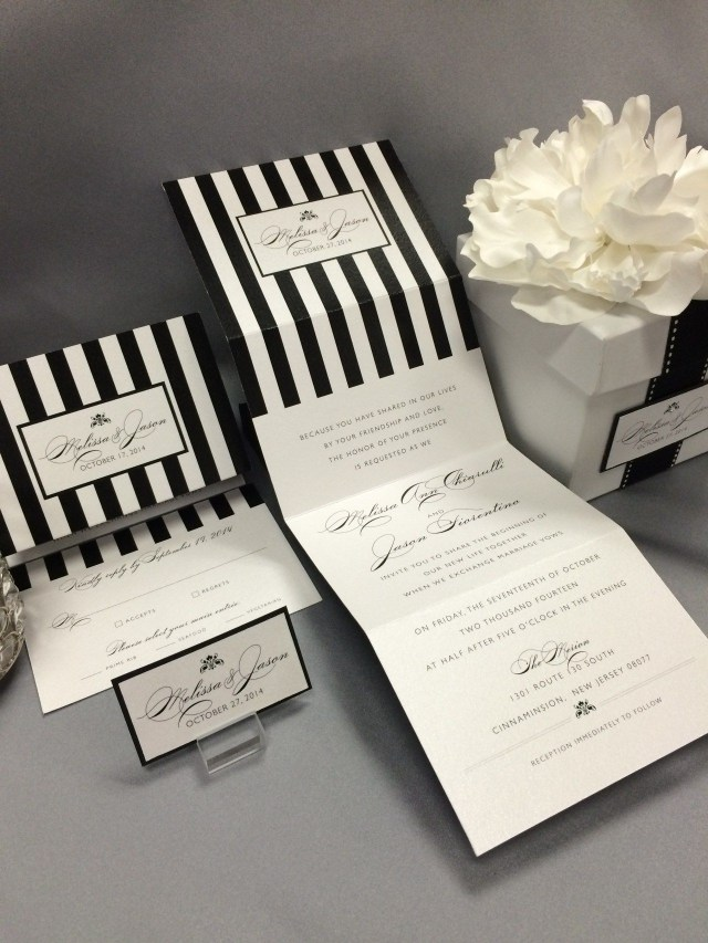 Black And White Striped Wedding Invitations Black And White Striped Gift Box Wedding Invitation Tang Design