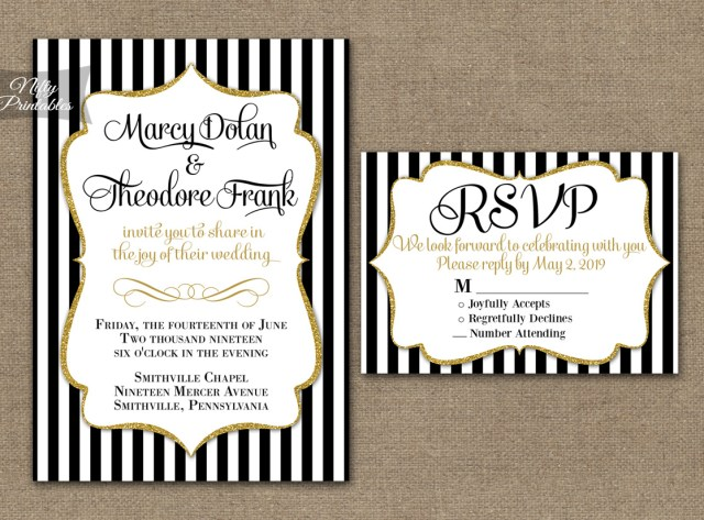 Black And White Striped Wedding Invitations Black White Striped Gold Wedding Invitations Nifty Printables