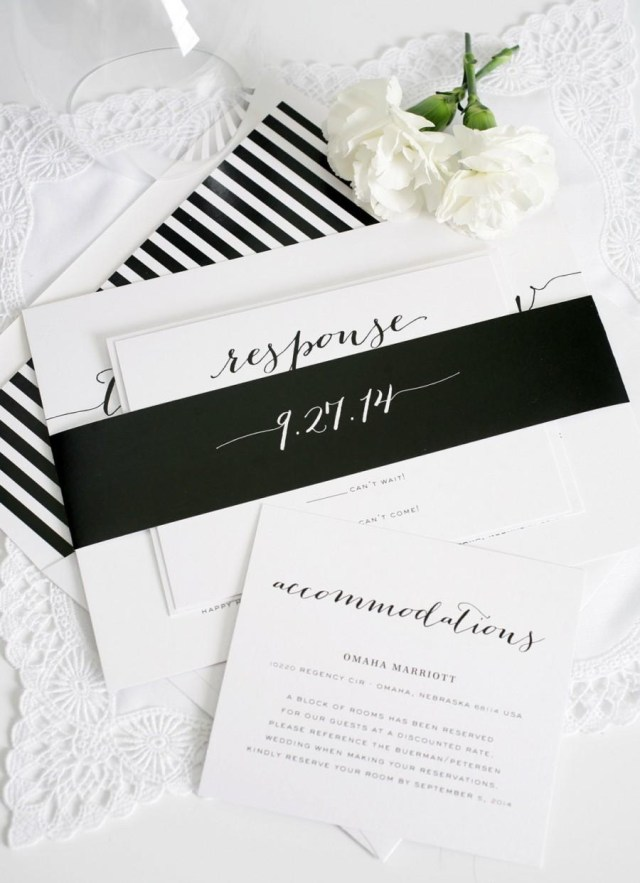 Black And White Striped Wedding Invitations Elegant Wedding Invitation Black White Striped Unique Stylish