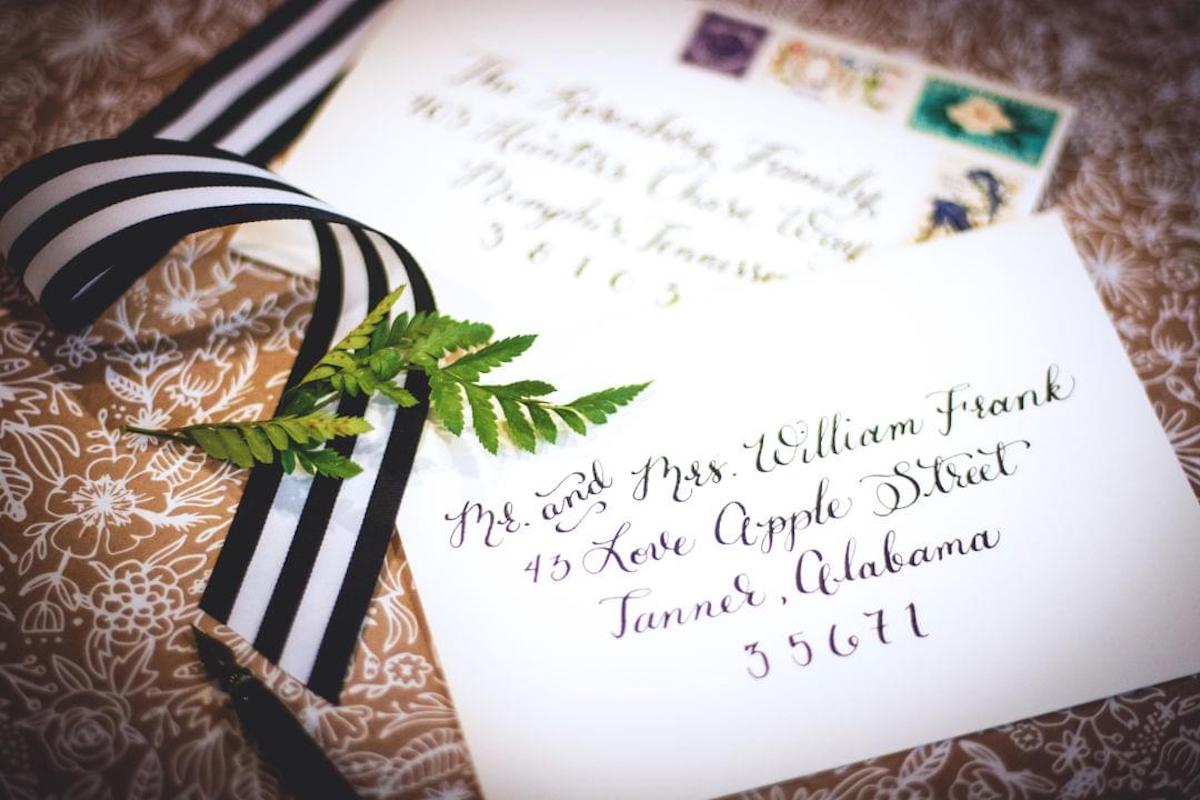 Black And White Striped Wedding Invitations How To Address Wedding Invitations Unveiled Zola