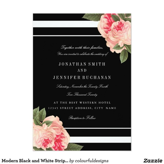 Black And White Striped Wedding Invitations Modern Black And White Striped Wedding Invites Modern Wedding