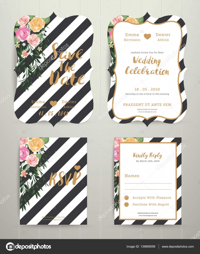 Black And White Striped Wedding Invitations Modern Wedding Invitation Card Set On Black And White Stripe Bac