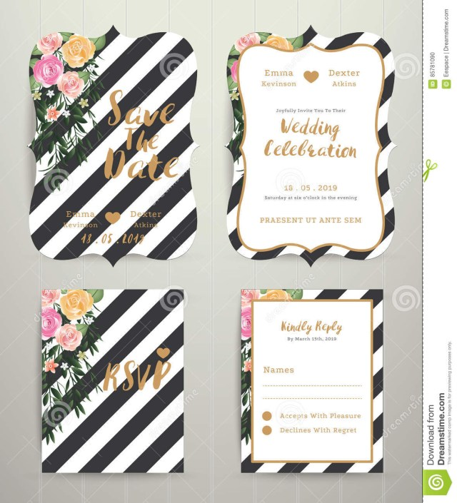 Black And White Striped Wedding Invitations Modern Wedding Invitation Card Set On Black And White Stripe