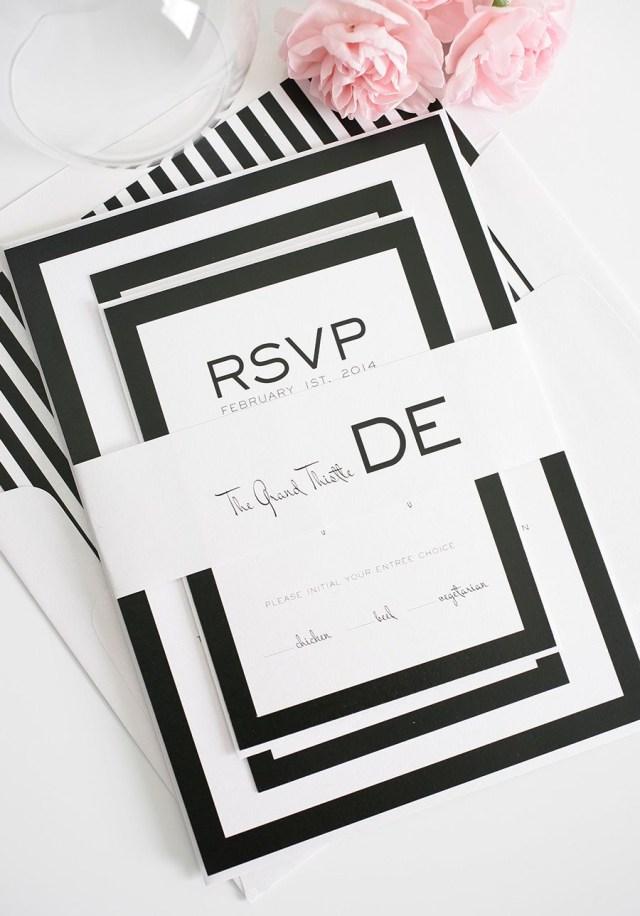 Black And White Striped Wedding Invitations Modern Wedding Invitations In Black And White Event Ideas