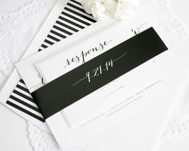 Black And White Striped Wedding Invitations Rustic Wedding Invitations In Black Wedding Invitations