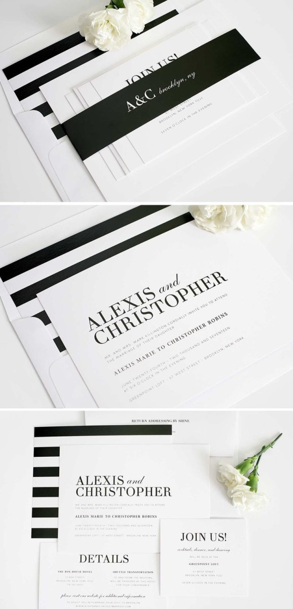 Black And White Striped Wedding Invitations Urban Glamour Wedding Invitations Pinterest Striped Wedding