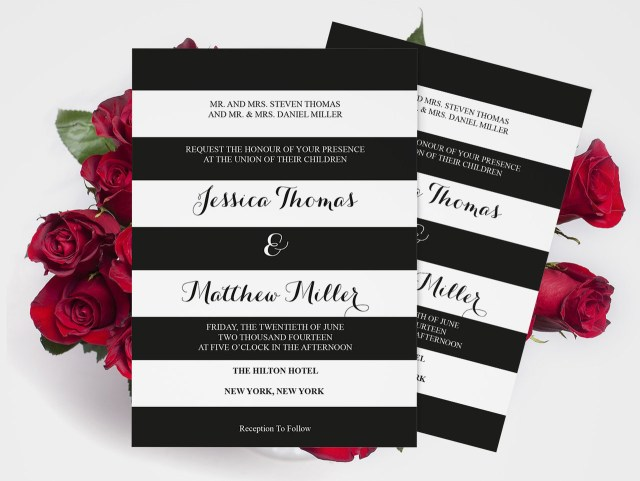 Black And White Striped Wedding Invitations Wedding Invitation Template Black White Striped Printable