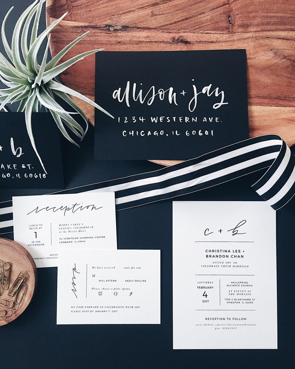 Black And White Wedding Invitations Minimalist Black And White Hand Lettered Wedding Invitations
