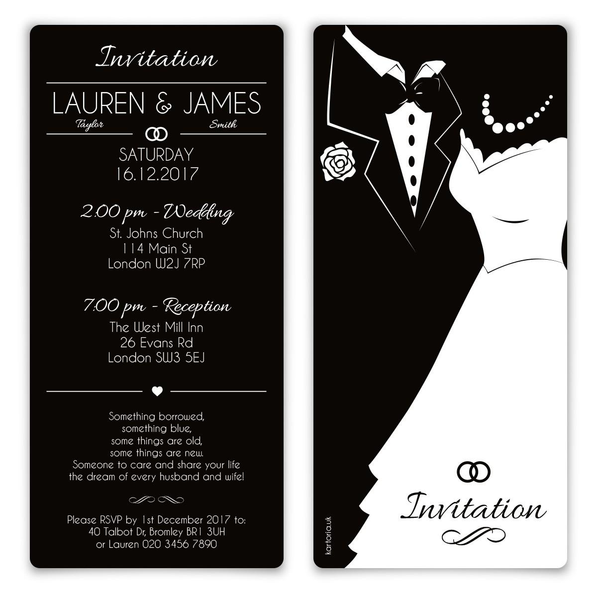 Black And White Wedding Invitations Wedding Invitation Cards Black And White Bride And Groom Black
