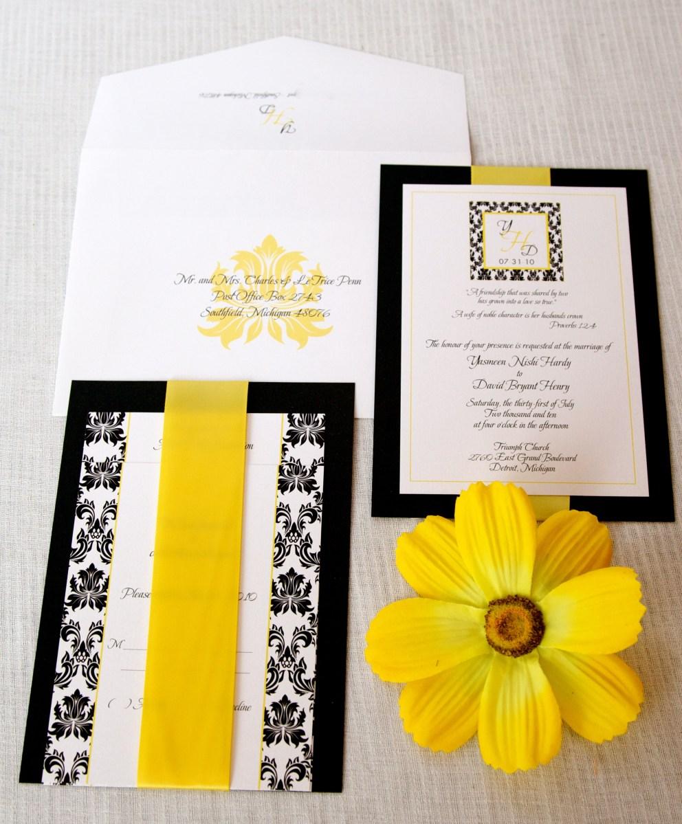 Black And White Wedding Invitations Wedding Invitations Black White Yellow Damask Inspired Lepenn