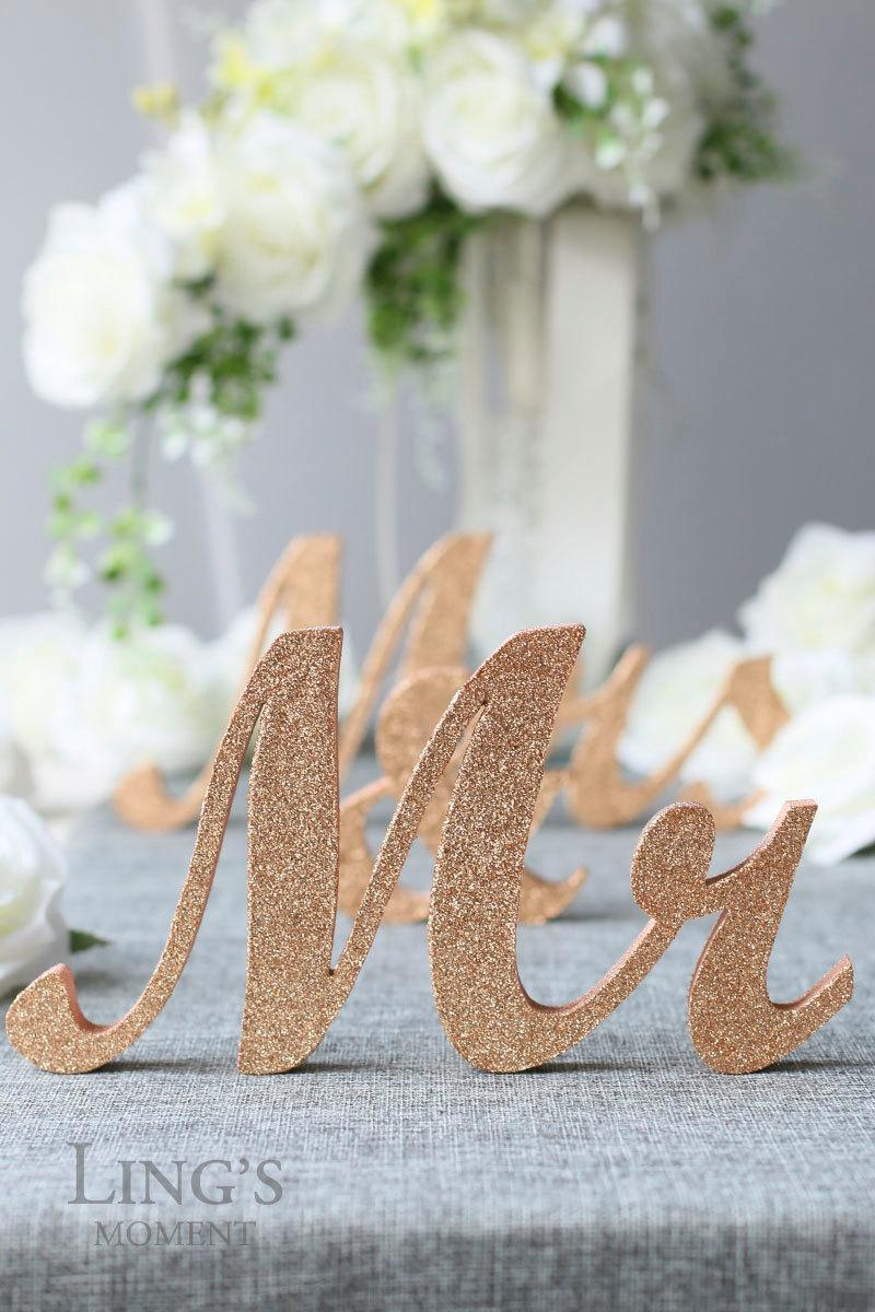 Bride Groom Wedding Table Decorations Glitter Mr And Mrs Letters Head Table Decorations Rose Gold Mr And