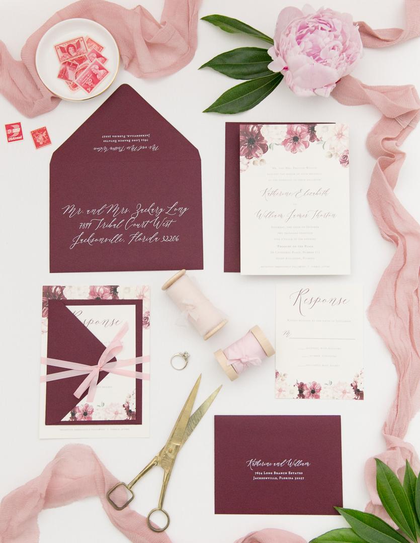 Burgundy Wedding Invitations Blush And Wine Floral Wedding Invitation Heather Obrien Design