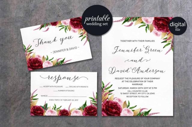 Burgundy Wedding Invitations Burgundy Wedding Invitation Floral Wedding Invitation Pink Etsy