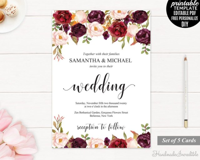 Burgundy Wedding Invitations Burgundy Wedding Invitation Set Printable Floral Marsala Invite