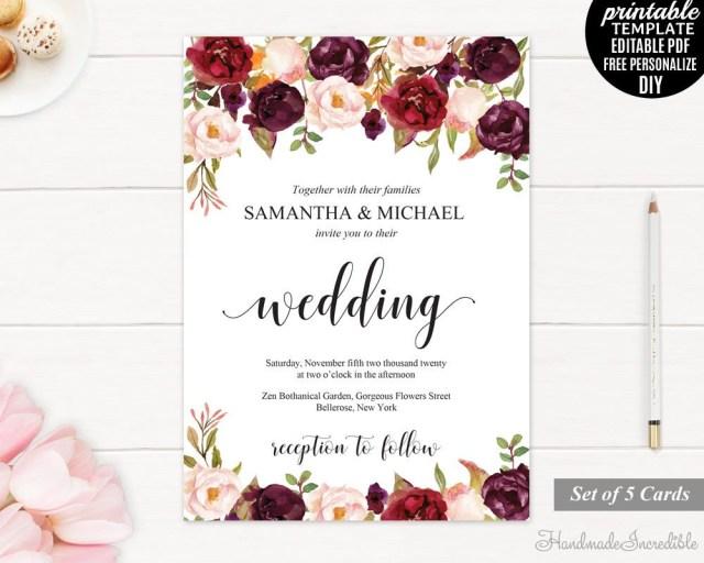 Burgundy Wedding Invitations Burgundy Wedding Invitation Set Printable Floral Marsala Invite
