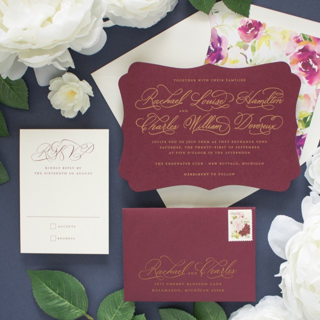 Burgundy Wedding Invitations Cherished Gold And Burgundy Wedding Invitations Banter And Charm