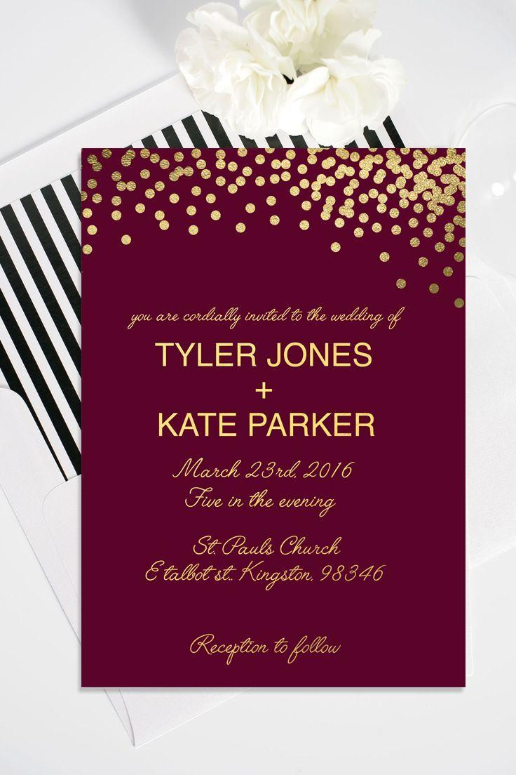 Burgundy Wedding Invitations Gold Polka Dot Wedding Invitation With Rsvp Card Forevergreen