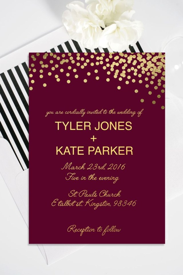 Burgundy Wedding Invitations Gold Polka Dot Wedding Invitation With Rsvp Card Forevergreen