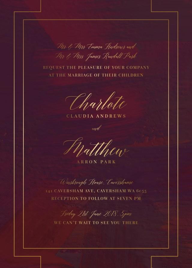 Burgundy Wedding Invitations Ron Burgundy Metallic Wedding Invitations