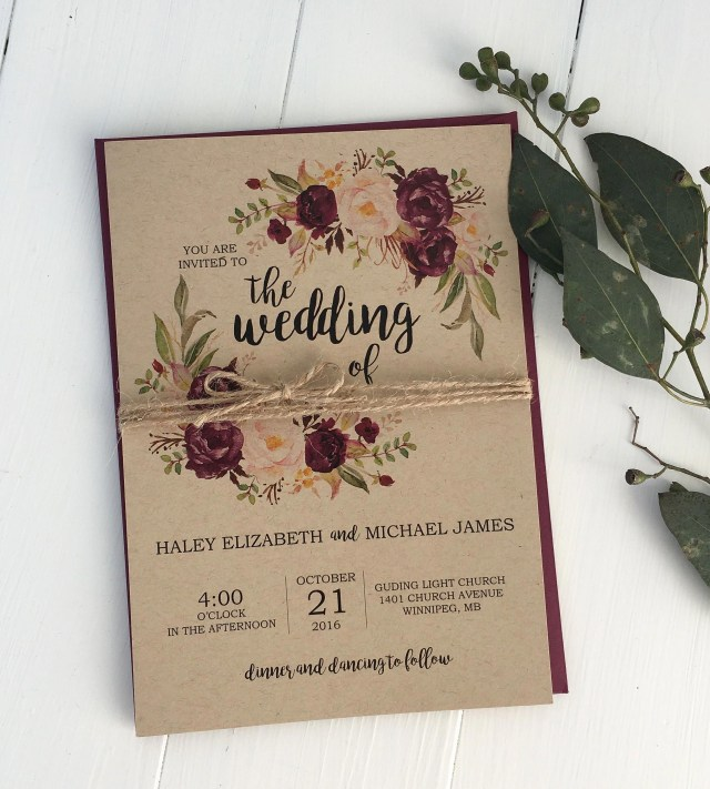 Burgundy Wedding Invitations Rustic Burgundy Wedding Invitation Kraft Wedding Invitation