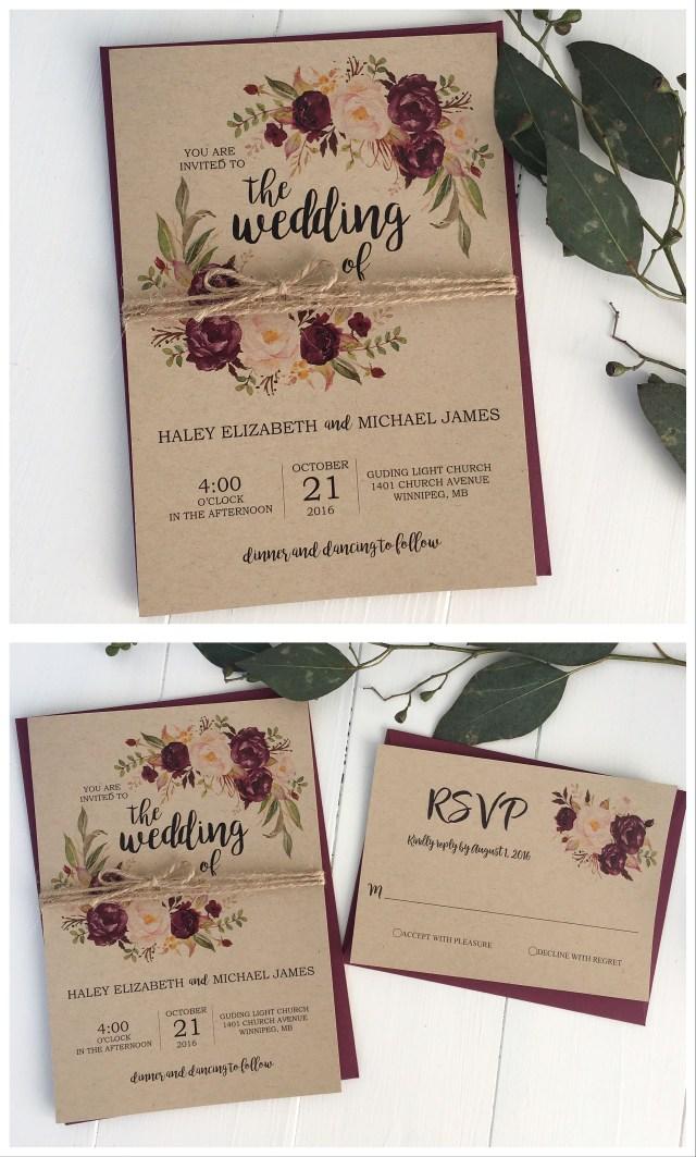 Burgundy Wedding Invitations Rustic Wedding Invitation Marsala Wedding Invitation Burgundy