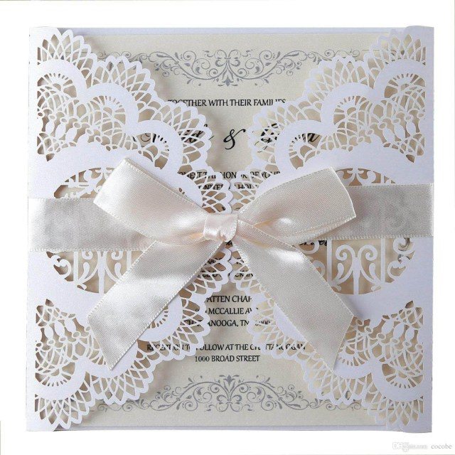 Cheap Beach Wedding Invitations Laser Cut Wedding Invitations Cards With Bowknot Lace Flowers Blank