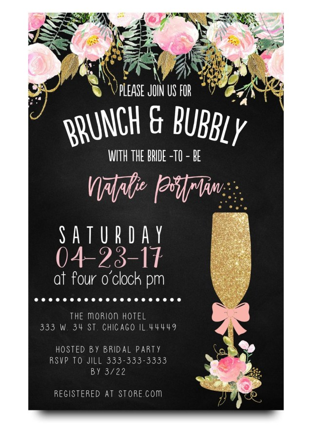 Cheap Wedding Shower Invitations Brunch And Bubbly Chalkboard Bridal Shower Invitation In 2018