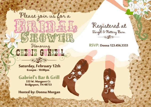 Cheap Wedding Shower Invitations Cowboy Boots Bridal Shower Printable Invitation Weddings