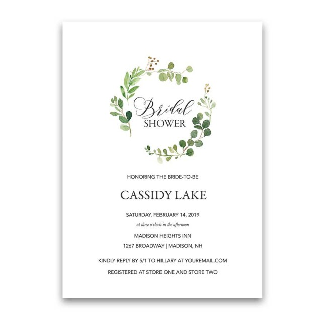 Cheap Wedding Shower Invitations Greenery Bridal Shower Invitations Eucalyptus Wreath Modern
