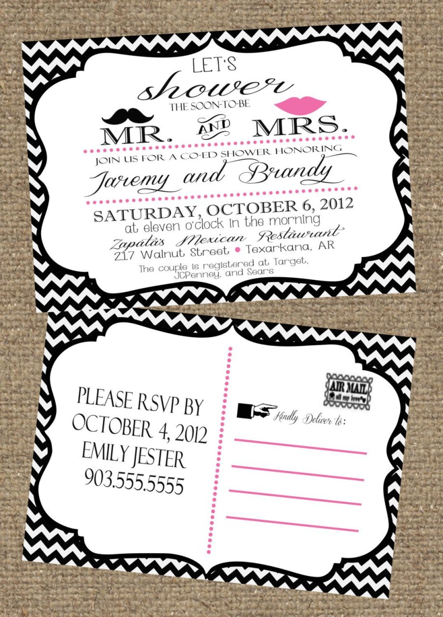Coed Wedding Shower Invitations 5x7 Couples Wedding Shower Invitation Postcard 1500 Via Etsy