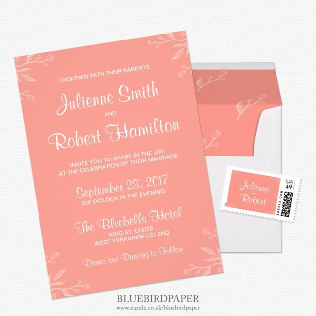 Coral Wedding Invitations Simple And Elegant Coral Pink Wedding Invitations 2460271 Weddbook
