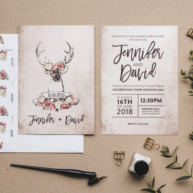 Country Wedding Invitations Cheap Stag And Rose Country Wedding Invitation Set