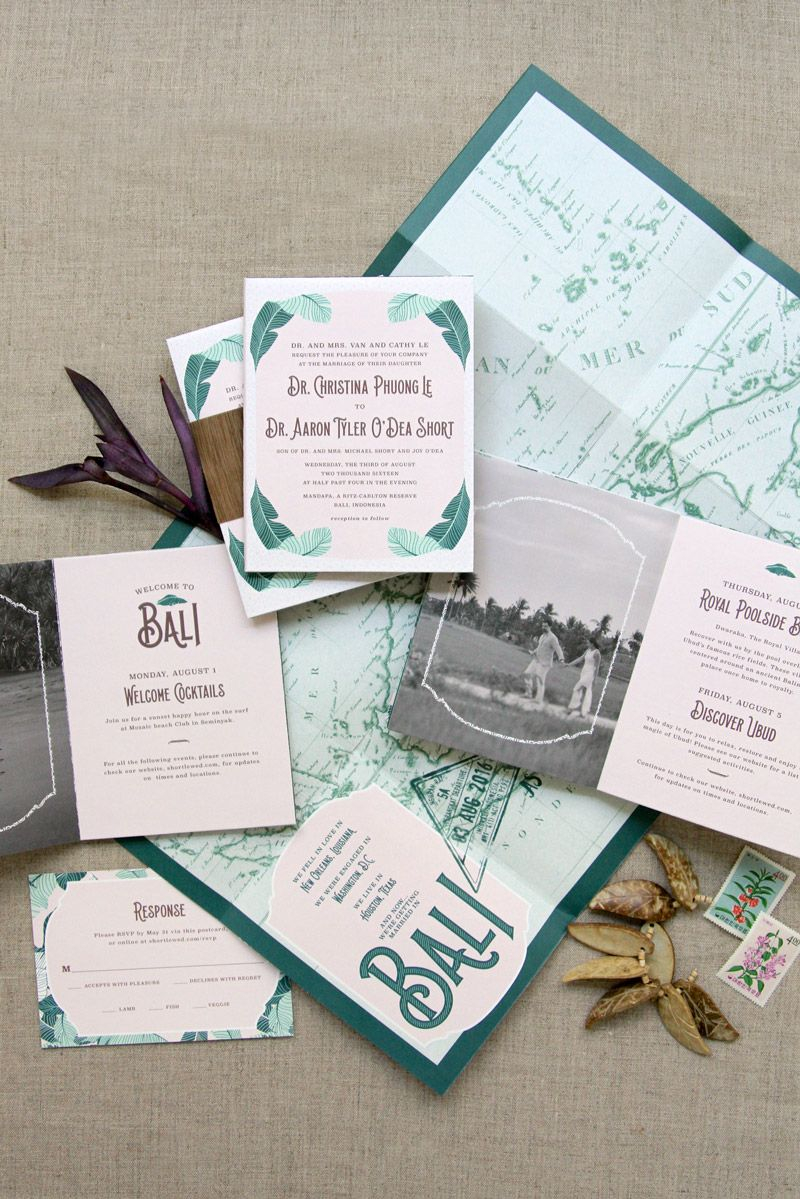 Custom Wedding Invitation Fold Out Poster Vintage Bali Map Custom Wedding Invitation Booklet