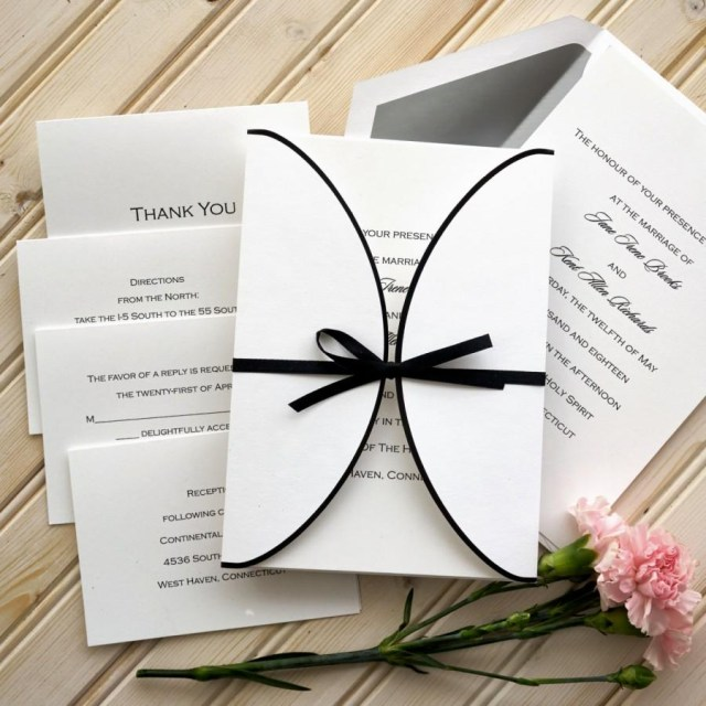 Custom Wedding Invitation Ribbon Wedding Invitation Set Raised Thermography Wedding Invite
