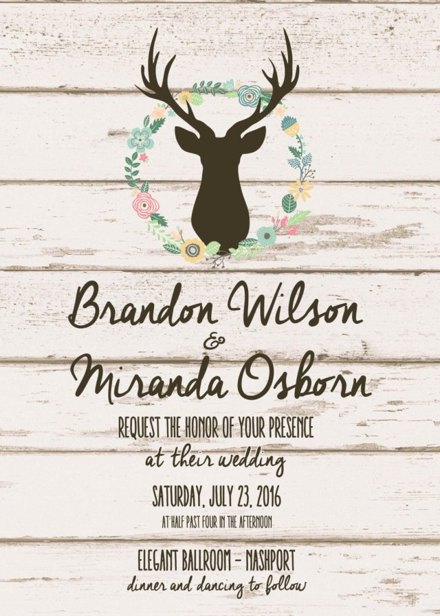 Deer Wedding Invitations Boho Chic Wedding Invitations Bohemian Wedding Invitation Wood