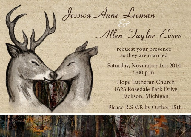 Deer Wedding Invitations Custom Camo And Deer Themed Invitations Camo Celebrations