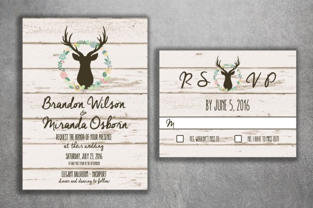 Deer Wedding Invitations Deer Wedding Invitation Country Wedding Invitations Rustic Wedding
