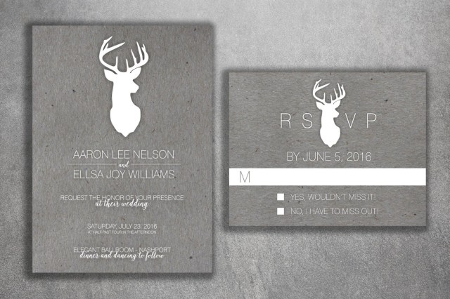 Deer Wedding Invitations Deer Wedding Invitations Set Rustic Wedding Invitation Country