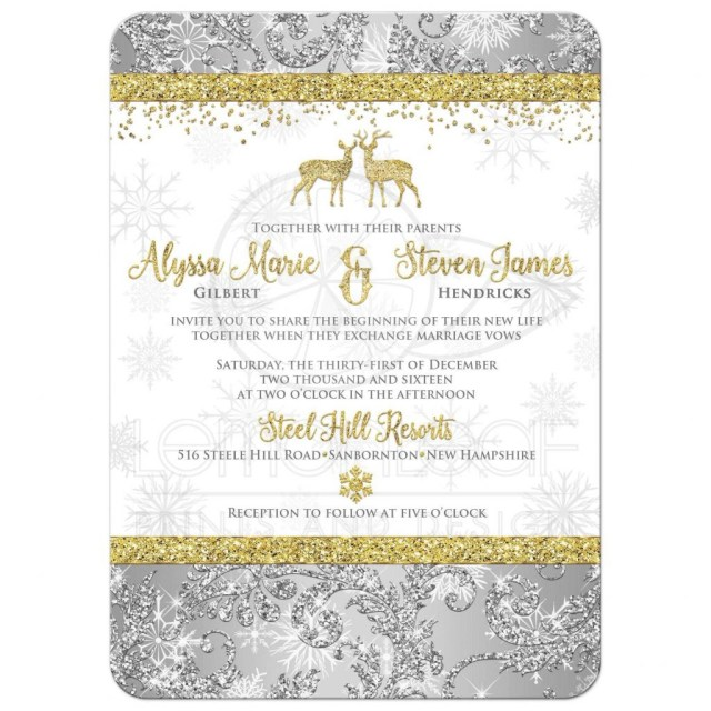 Deer Wedding Invitations Roundedrectangle Silver Gold White Damask Glitter Snowflakes Deer