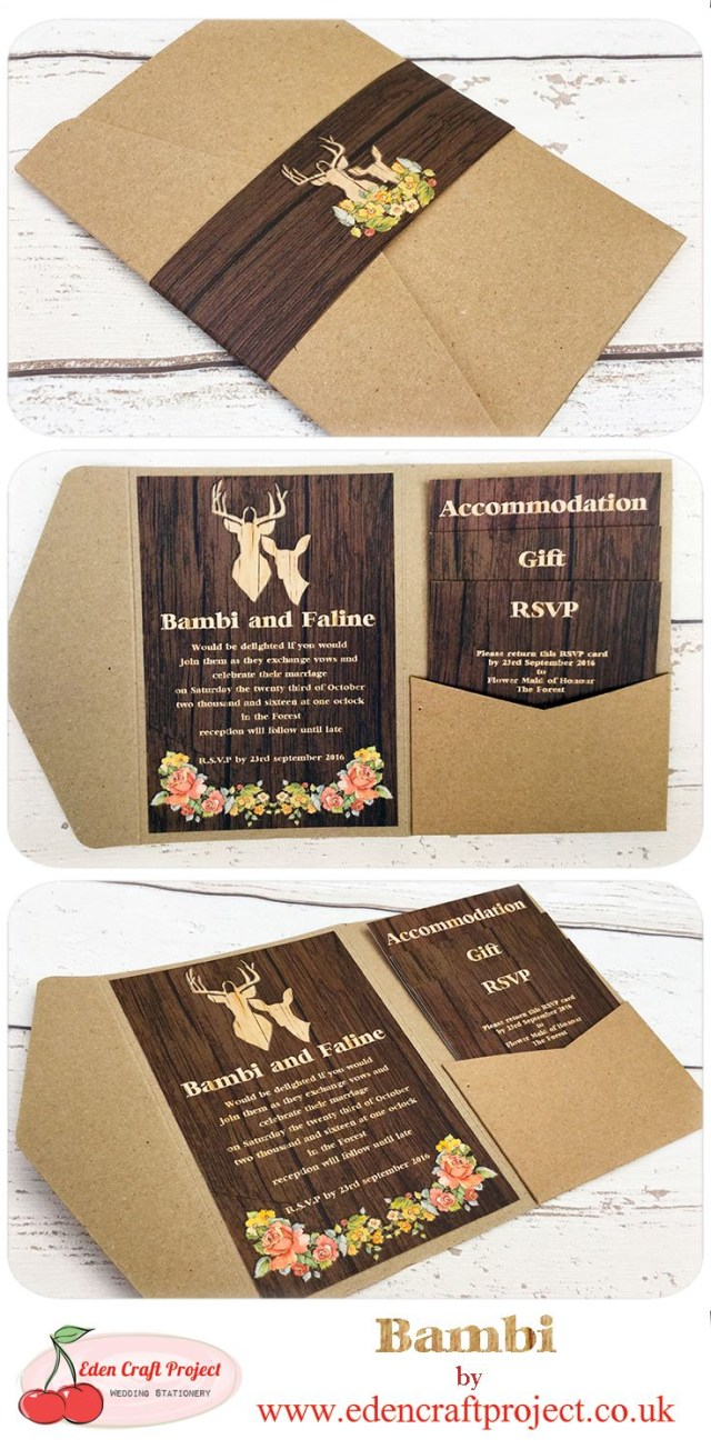 Deer Wedding Invitations The Disney Inspired Bambi Pocketfold Wedding Invitation Perfect For
