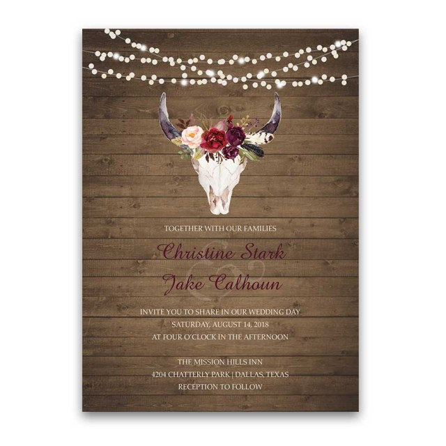 Deer Wedding Invitations Wedding Invitations Floral Deer Skull Antler Burgundy Blush Floral