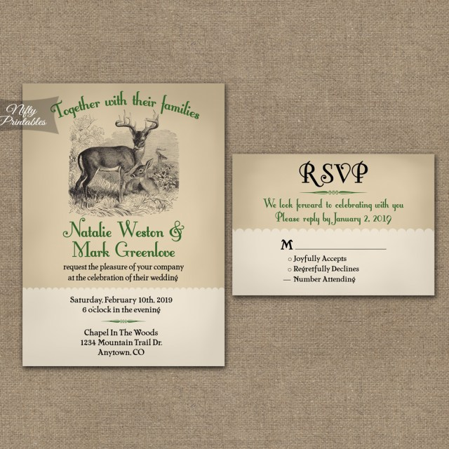 Deer Wedding Invitations Woodland Deer Wedding Invitations Nifty Printables