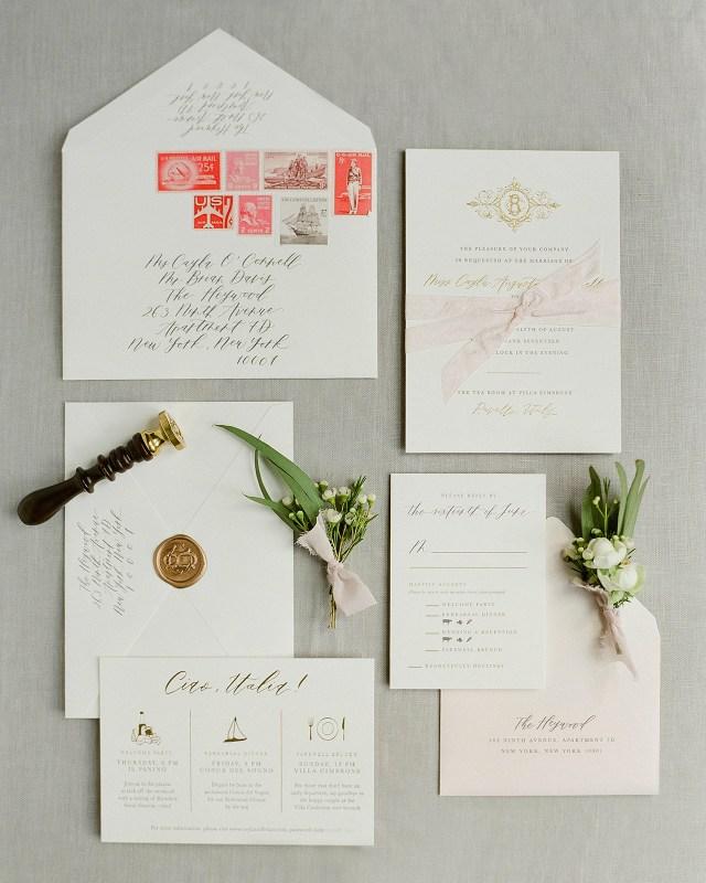 Destination Wedding Invitation Classic Neutral Italian Destination Wedding Invitations